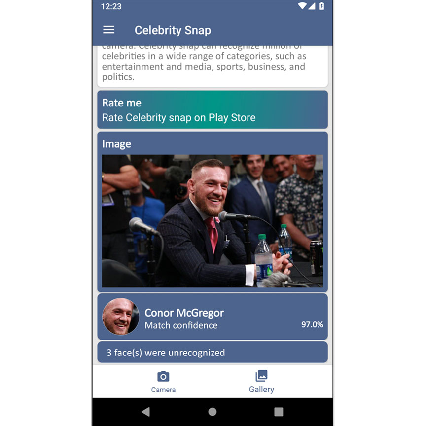 Celebrity Snap - Detect media, sports & politics